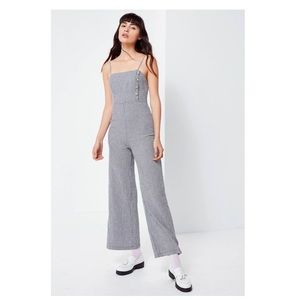 UO Straight-Neck LinenButton Down Jumpsuit